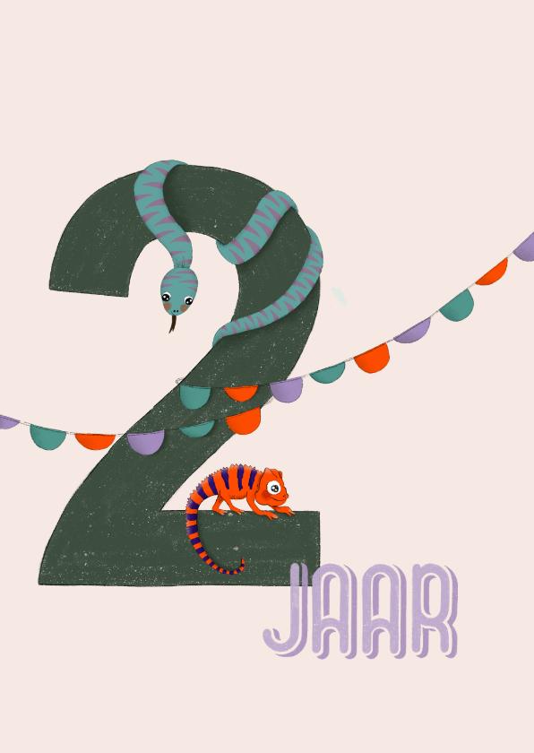 Verjaardagskaarten - Verjaardagskaart - 2 jaar feestdieren