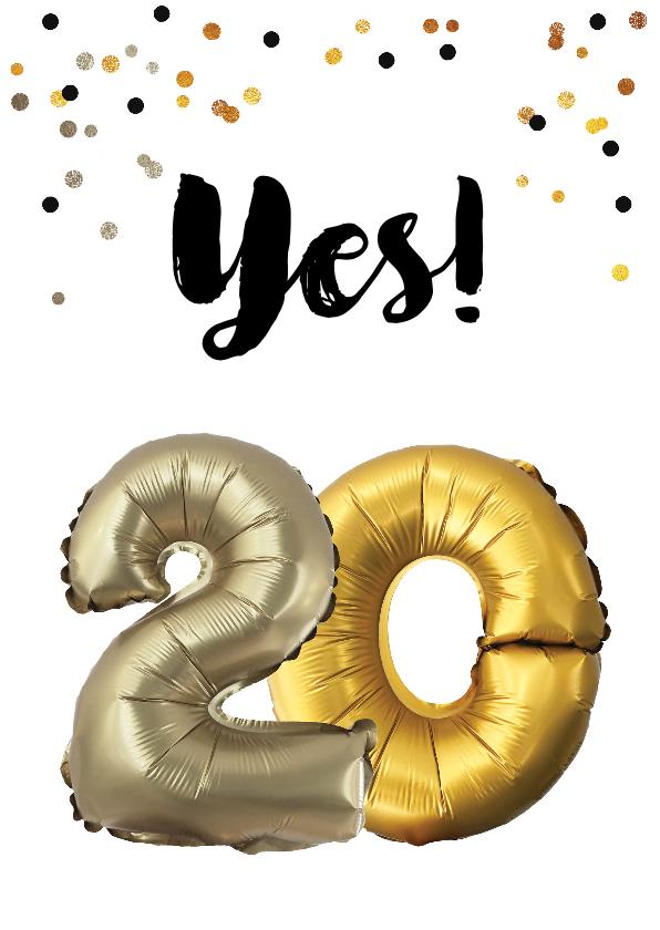 Verjaardagskaarten - Verjaardagskaart 20 jaar ballonnen en confetti