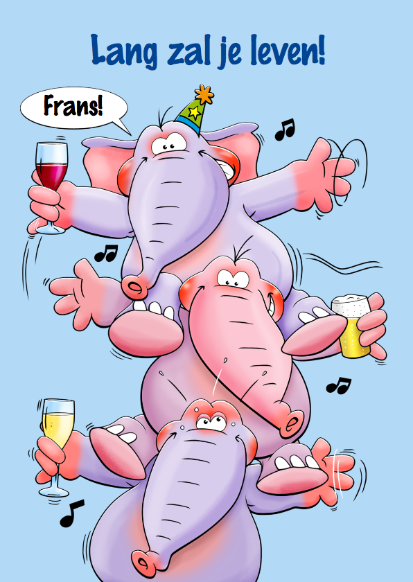 Verjaardagskaarten - Verjaardagskaart 3 grappige olifanten met een drankje