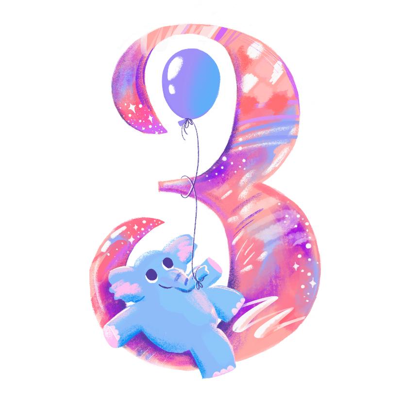 Verjaardagskaarten - Verjaardagskaart 3 jaar olifant