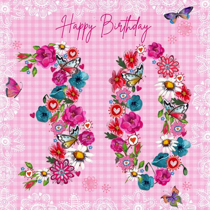 Verjaardagskaarten - Verjaardagskaart 30 jaar botanisch bohemian bloemen cijfers