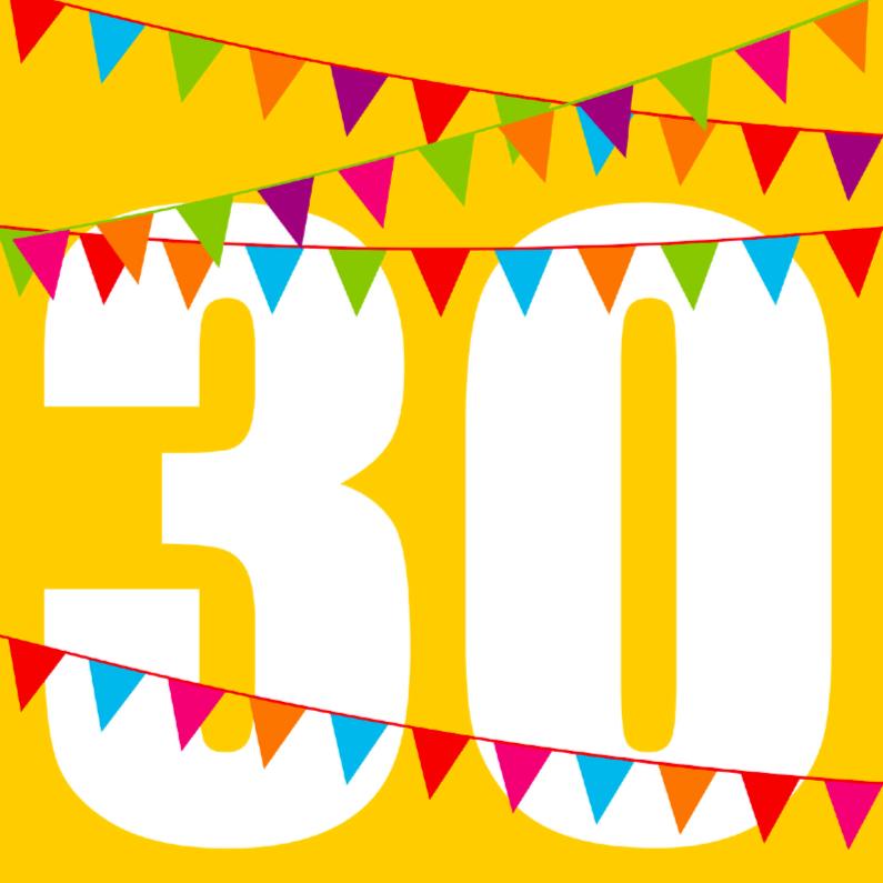 Verjaardagskaarten - verjaardagskaart 30 met vlaggen