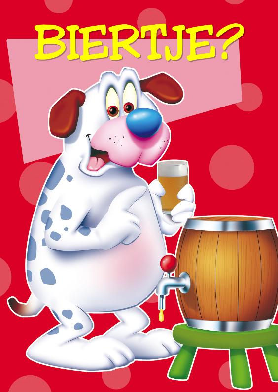 Verjaardagskaarten - Verjaardagskaart 4 hond met biertje
