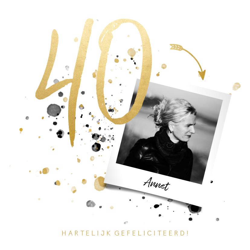 Verjaardagskaarten - Verjaardagskaart '40' met foto en spetters