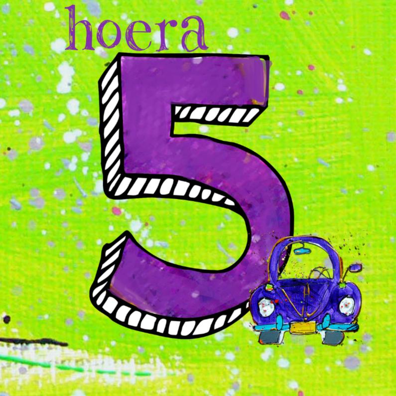 Verjaardagskaarten - Verjaardagskaart 5 jaar auto