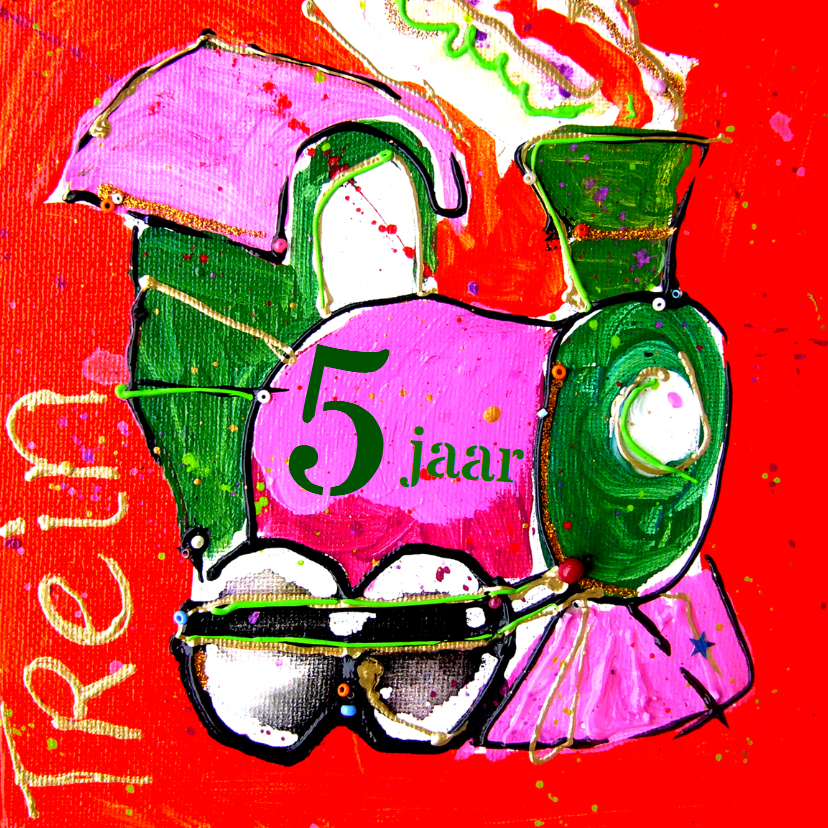 Verjaardagskaarten - verjaardagskaart 5 jaar trein