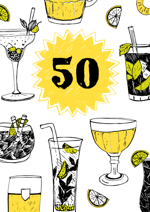 Verjaardagskaarten - Verjaardagskaart 50 drankjes