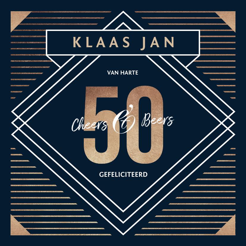 Verjaardagskaarten - Verjaardagskaart 50 jaar goud stijlvol man blauw