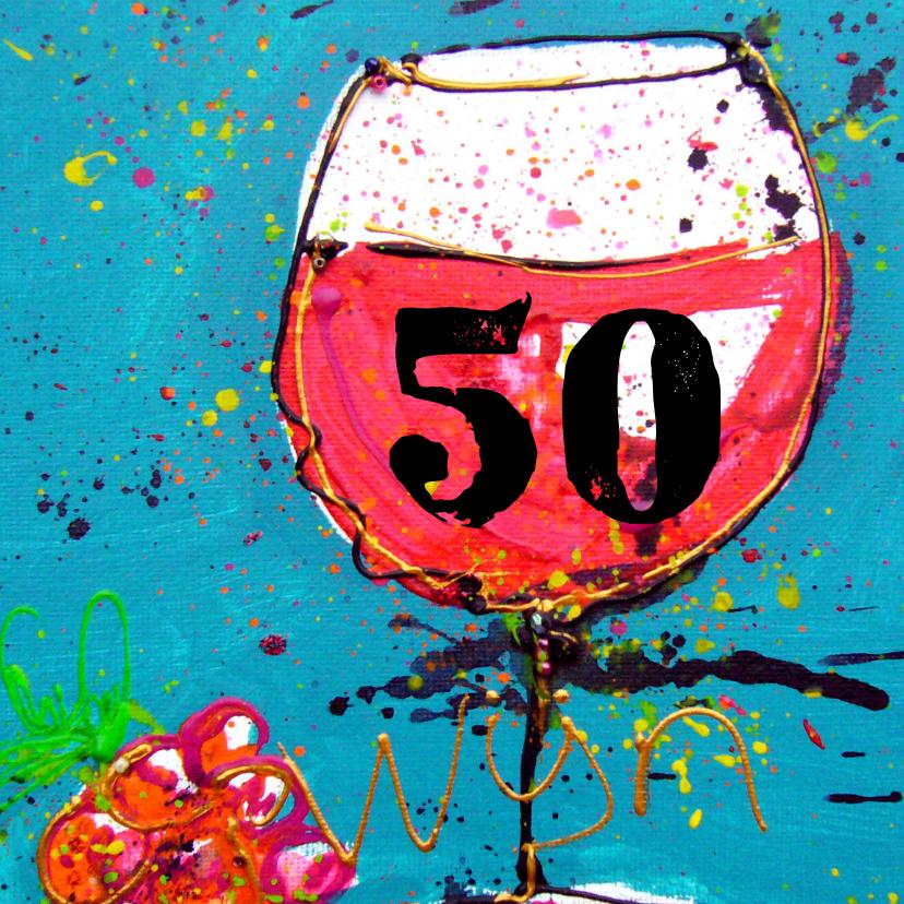 Verjaardagskaarten - verjaardagskaart 50 rode wijn
