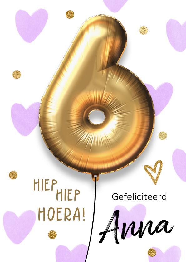 Verjaardagskaarten - Verjaardagskaart 6 jaar ballon lila hartjes meisje