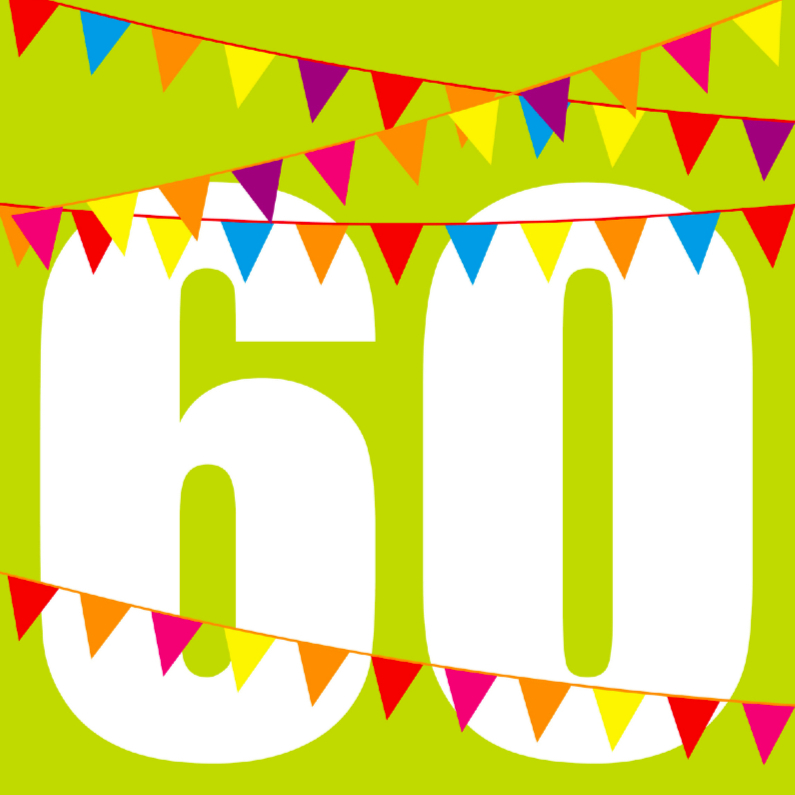Verjaardagskaarten - verjaardagskaart 60 jaar vlaggen