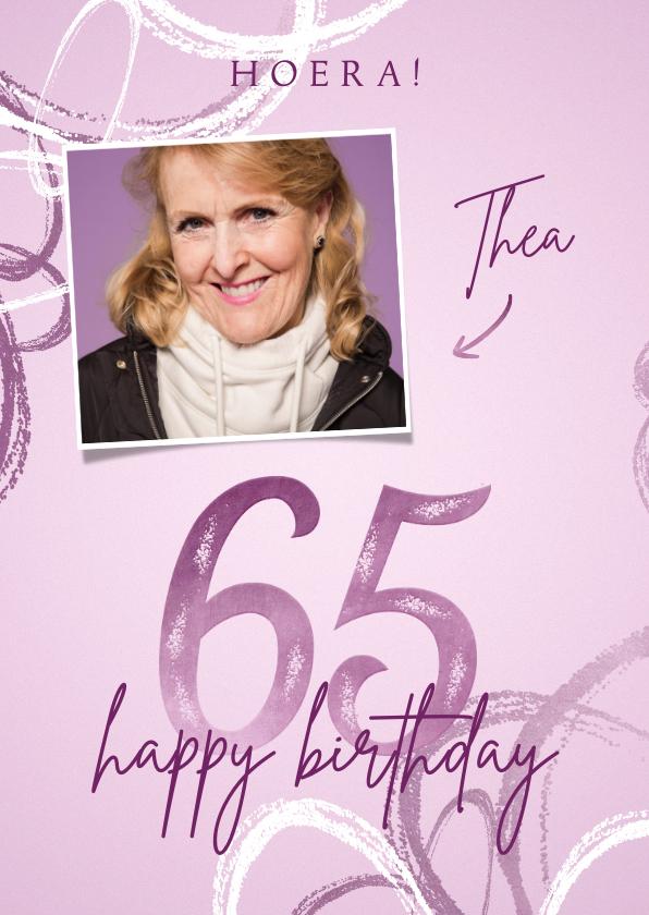 Verjaardagskaarten - Verjaardagskaart 65 lila met foto en abstracte vormen