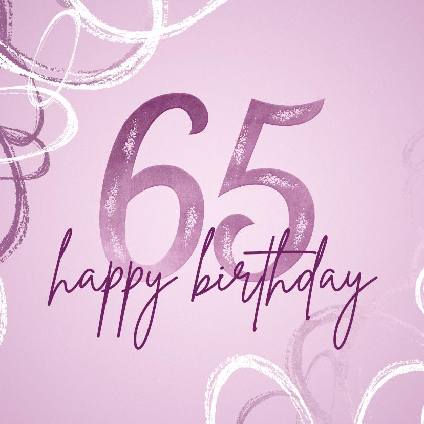 Verjaardagskaarten - Verjaardagskaart 65 modern lila met abstracte vormen