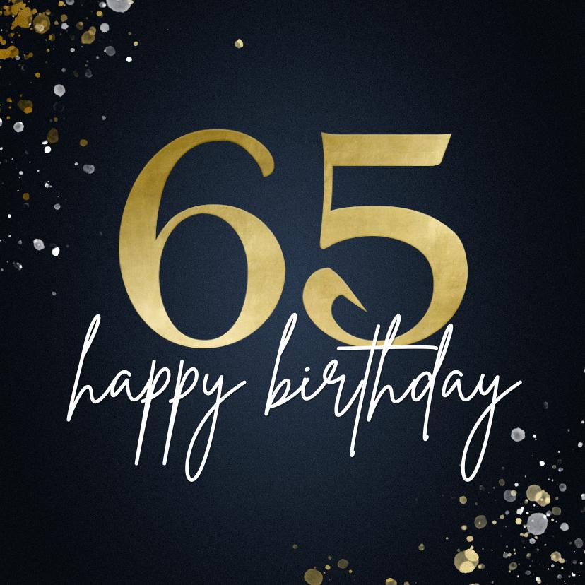 Verjaardagskaarten - Verjaardagskaart 65 stijlvol blauw met spetters