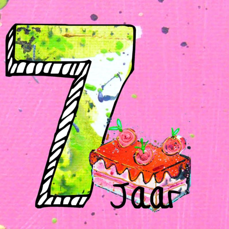 Verjaardagskaarten - Verjaardagskaart 7 jaar meisje