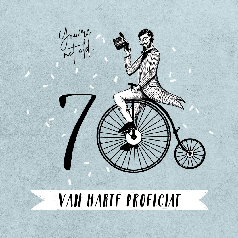 Verjaardagskaarten - Verjaardagskaart 70 jaar man vintage fiets