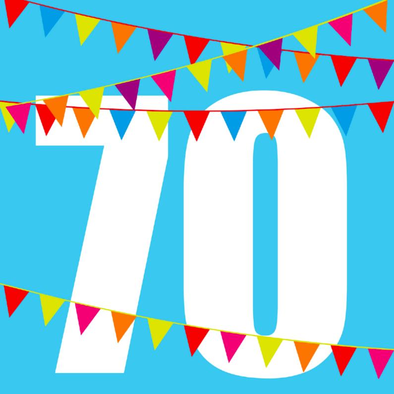 Verjaardagskaarten - verjaardagskaart 70 jaar met vlaggen