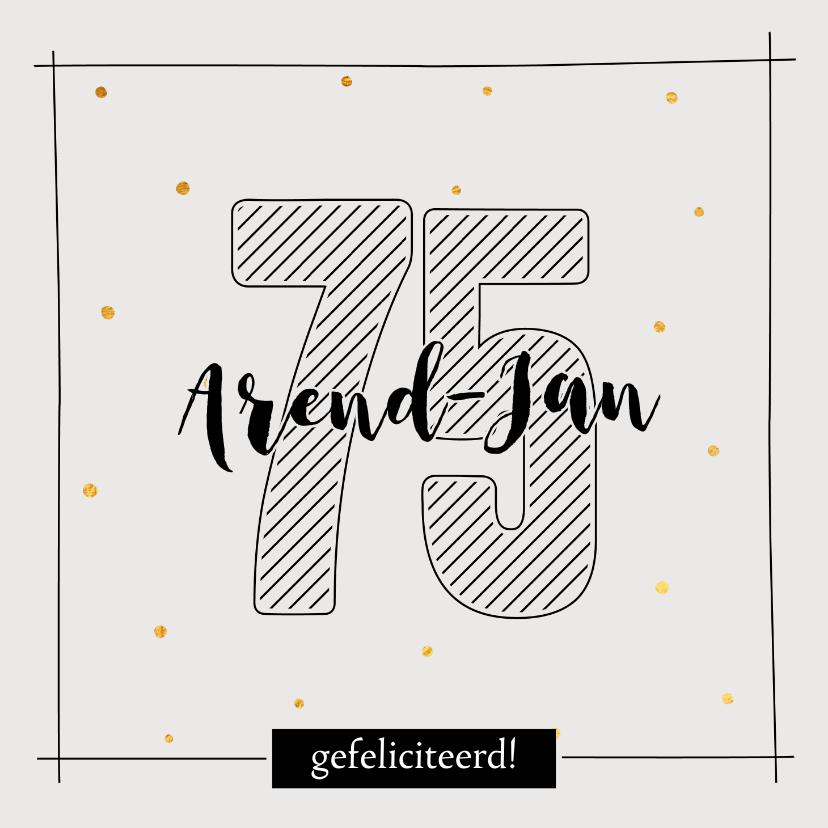 Verjaardagskaarten - Verjaardagskaart 75 jaar - met naam