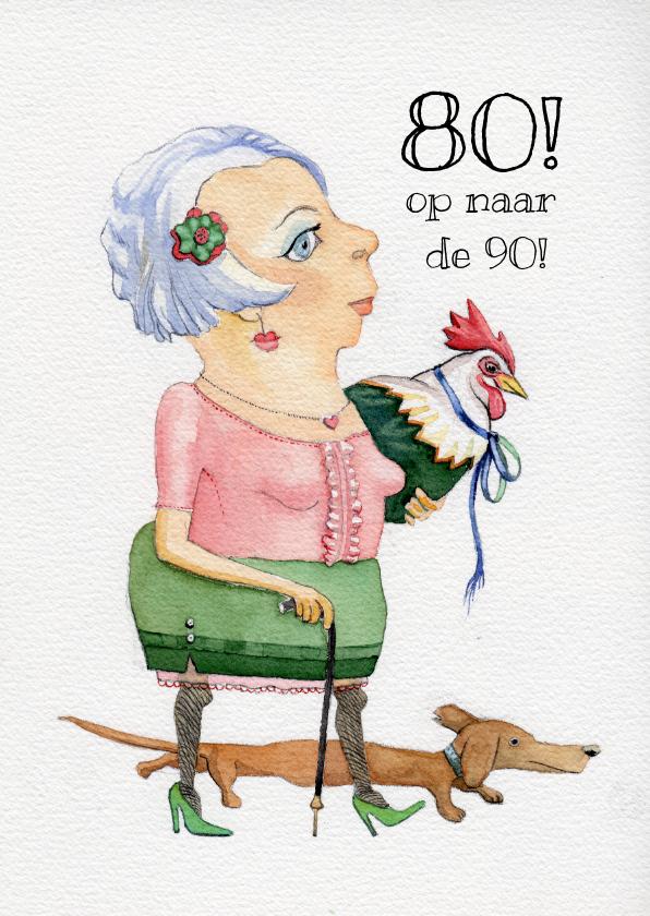 Verjaardagskaarten - Verjaardagskaart, 80 - op naar de 90!