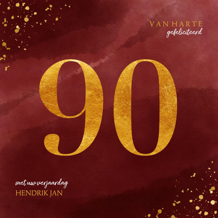 Verjaardagskaarten - Verjaardagskaart 90 jaar gouden spetters op waterverf