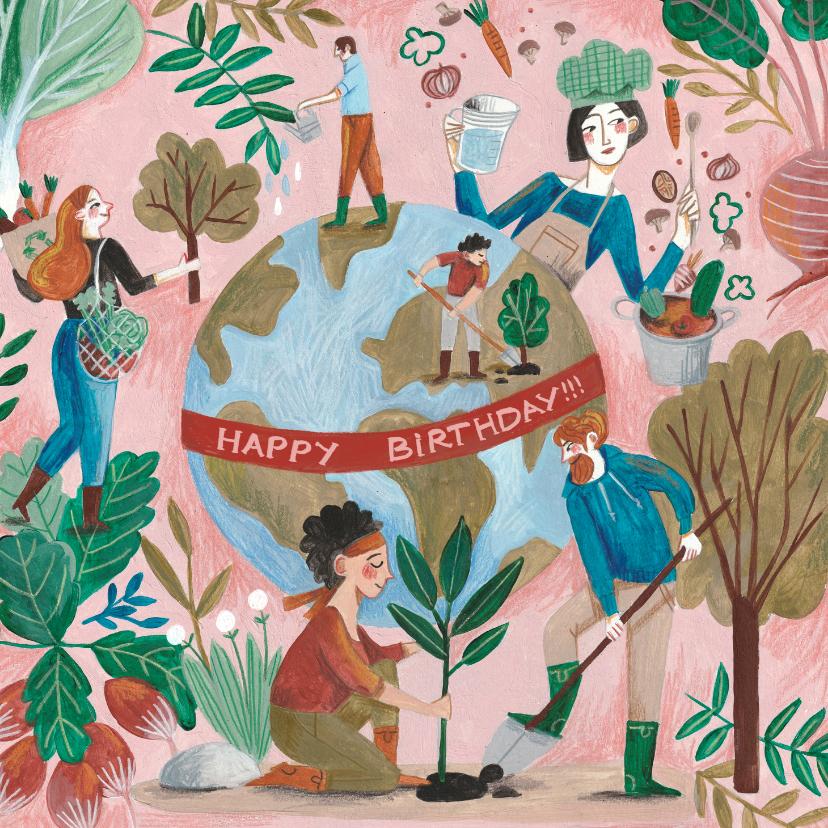 Verjaardagskaarten - Verjaardagskaart Aarde Bomen en Groente