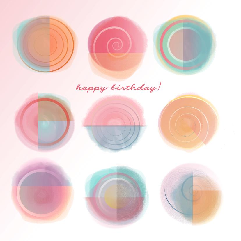 Verjaardagskaarten - Verjaardagskaart Abstact Sun Pink