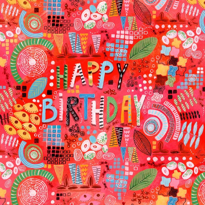 Verjaardagskaarten - Verjaardagskaart Abstract Rood
