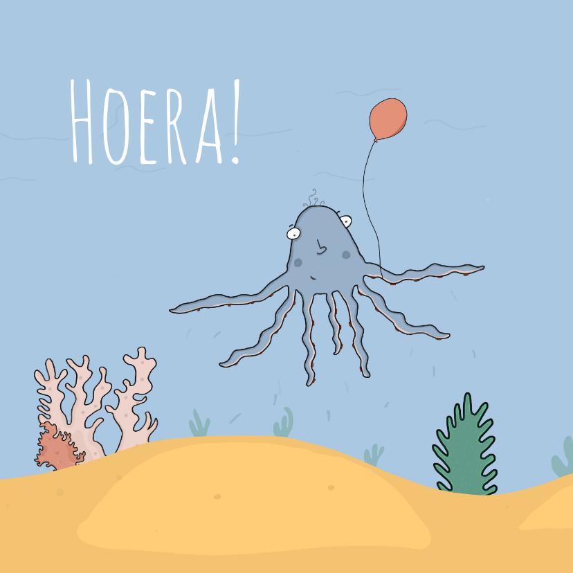 Verjaardagskaarten - Verjaardagskaart alle tentakels in de lucht!
