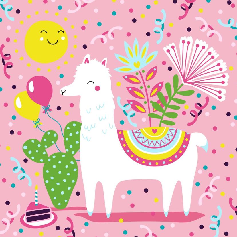 Verjaardagskaarten - Verjaardagskaart alpaca ballonnen en slingers