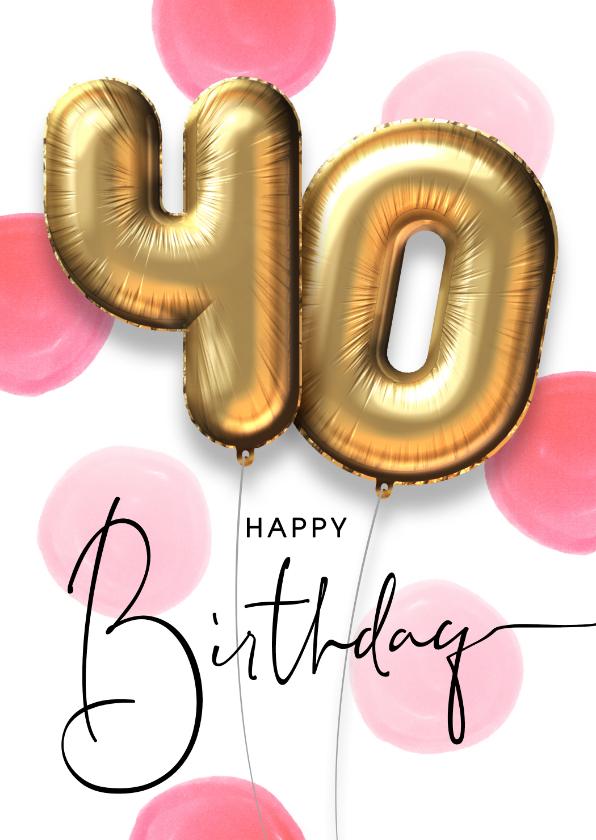 Ongekend Verjaardagskaart ballon 40 jaar confetti | Kaartje2go GJ-94