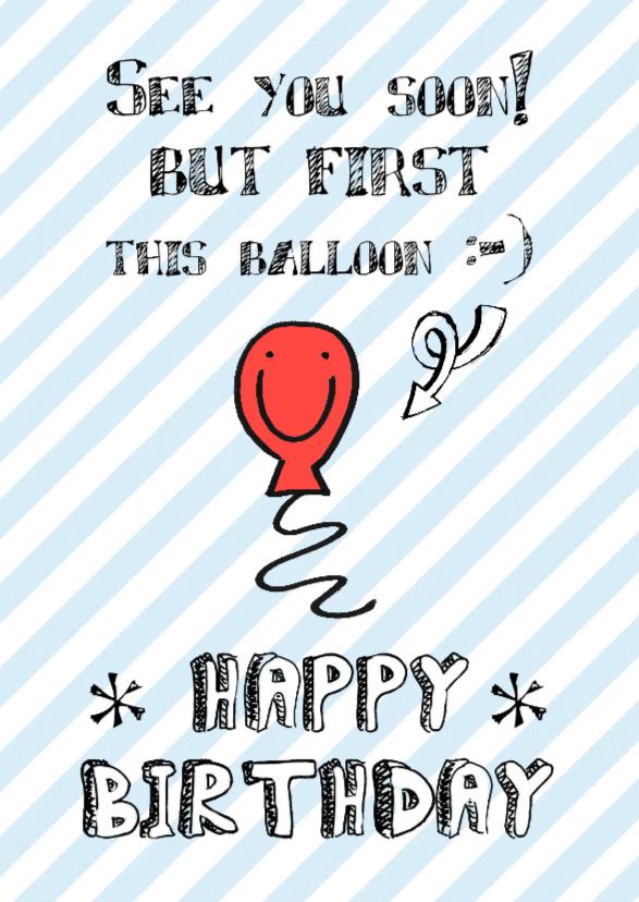 Verjaardagskaarten - Verjaardagskaart ballon happy
