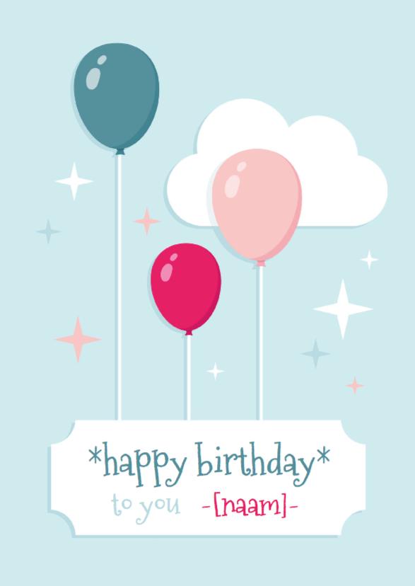 Verjaardagskaarten - Verjaardagskaart Ballonnen Hip