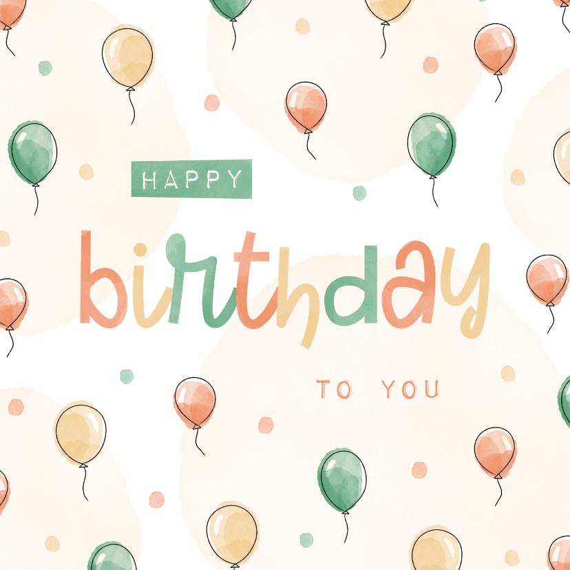 Verjaardagskaarten - Verjaardagskaart ballonnen patroon met confetti