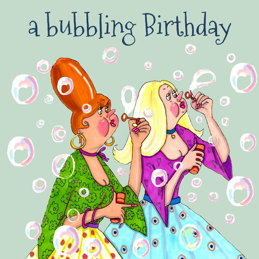 Verjaardagskaarten - Verjaardagskaart Bellen blazen in kleur
