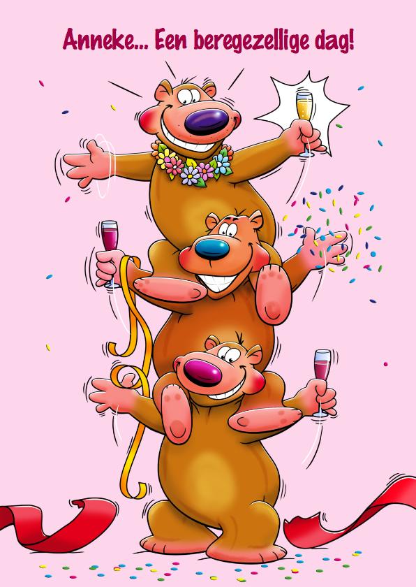 Verjaardagskaarten - Verjaardagskaart beregezellige dag met 3 beren