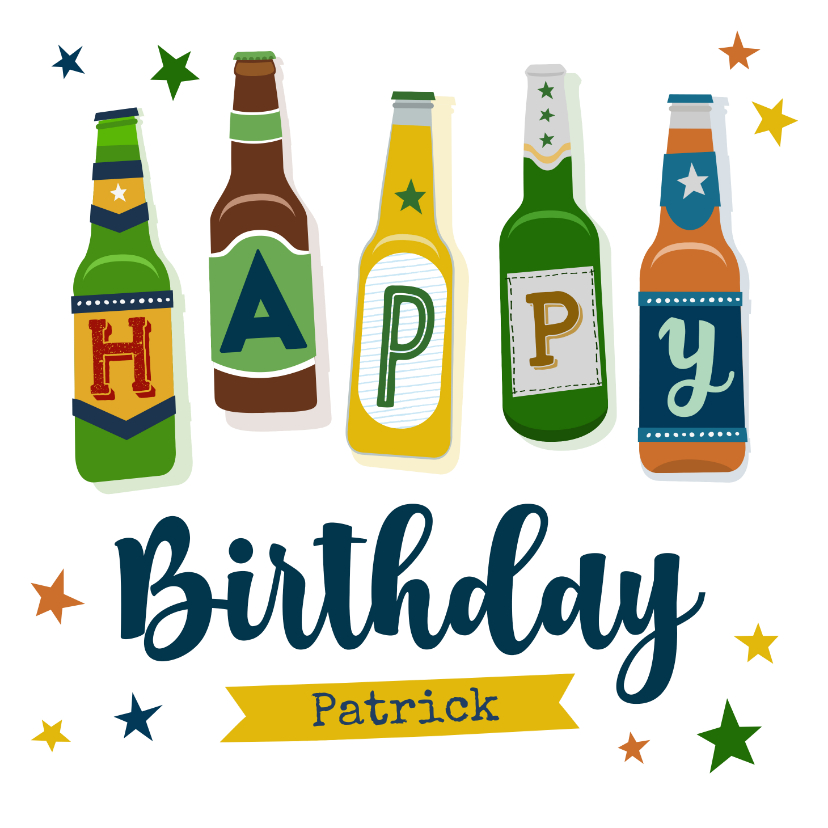 Verjaardagskaarten - Verjaardagskaart bierflesjes