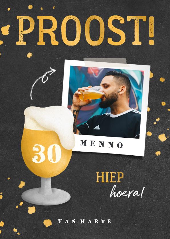 Verjaardagskaarten - Verjaardagskaart bierglas met foto en leeftijd