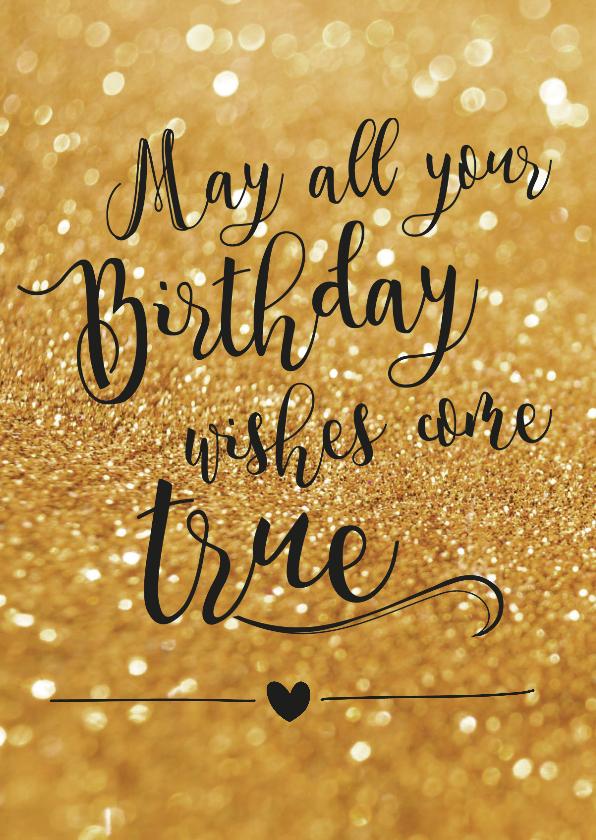 Verjaardagskaarten - Verjaardagskaart Birthday wishes goud