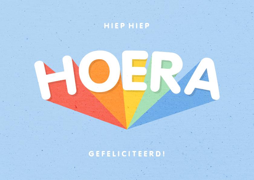 Verjaardagskaarten - Verjaardagskaart blauw 'HOERA' regenboog