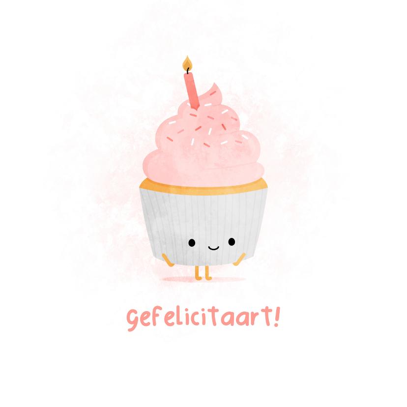 Verjaardagskaarten - Verjaardagskaart blije cupcake gefelicitaart