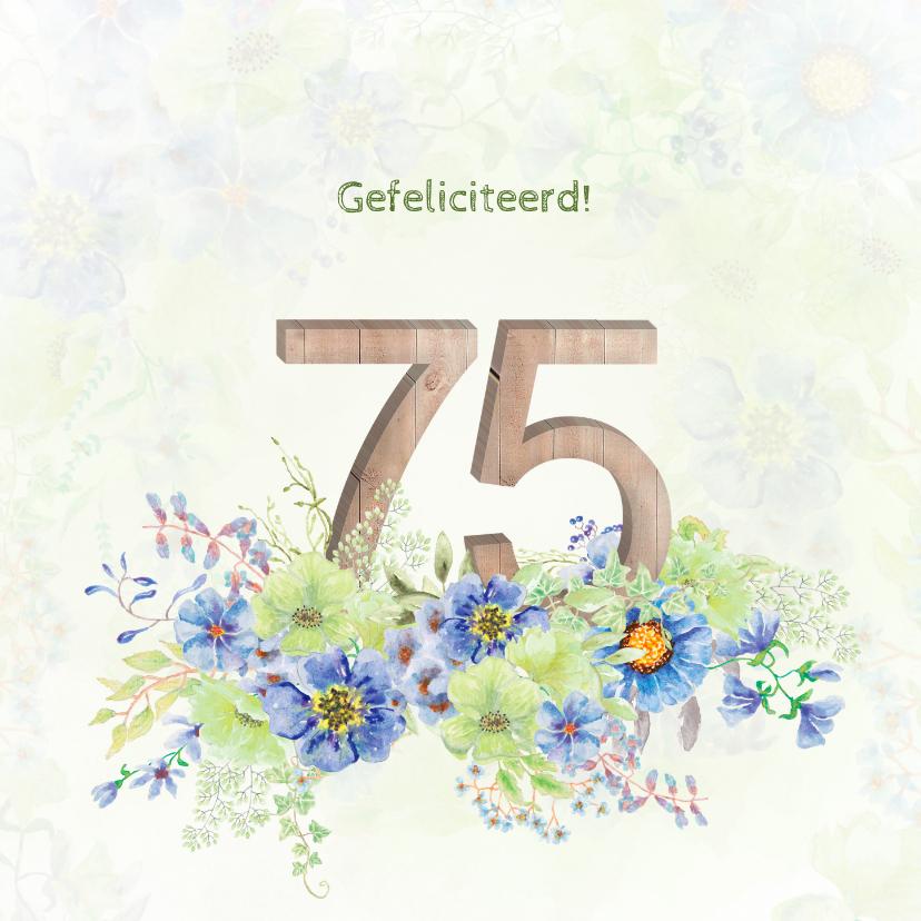 Verjaardagskaarten - Verjaardagskaart bloemen 75 jaar
