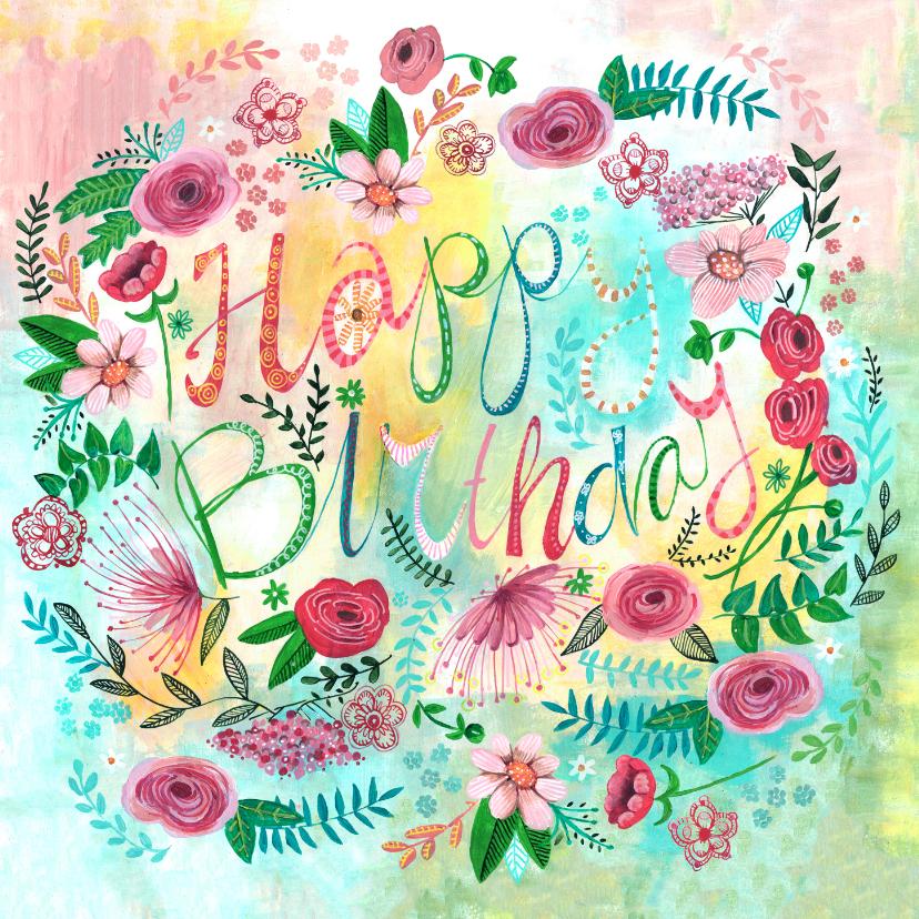 Verjaardagskaarten - Verjaardagskaart bloemen bijzonder