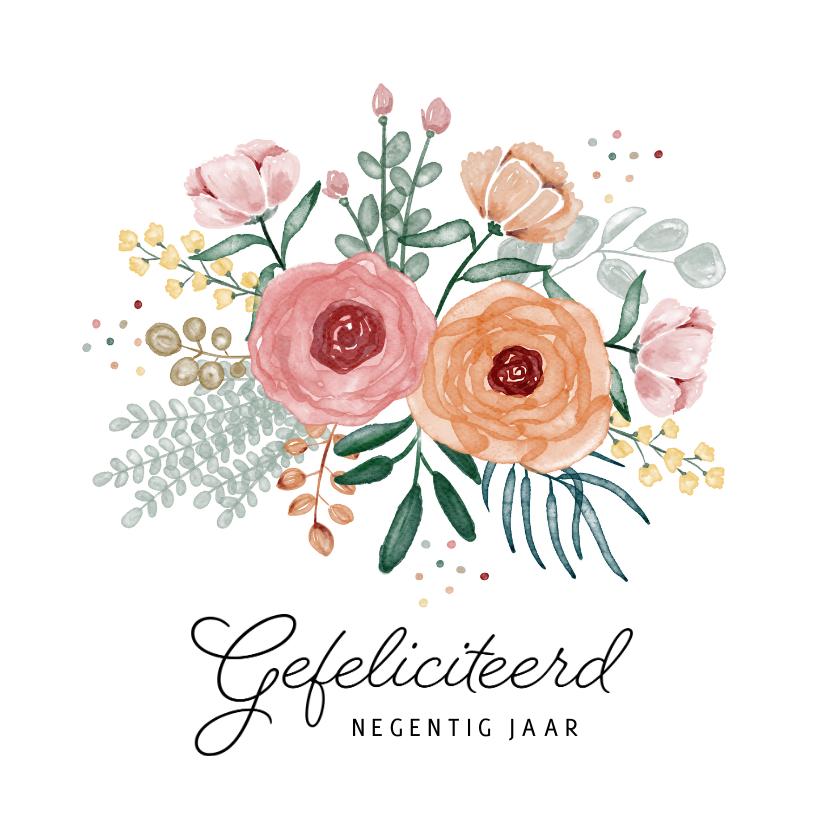 Verjaardagskaarten - Verjaardagskaart bloemen boeket gefeliciteerd confetti vrouw