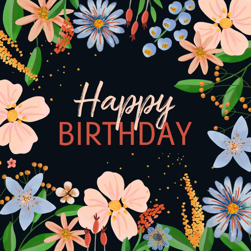 Verjaardagskaarten - Verjaardagskaart bloemen donkere achtergrond