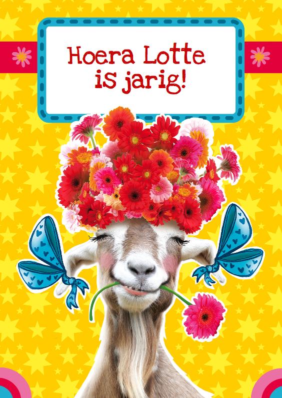 Verjaardagskaarten - verjaardagskaart bloemen geit