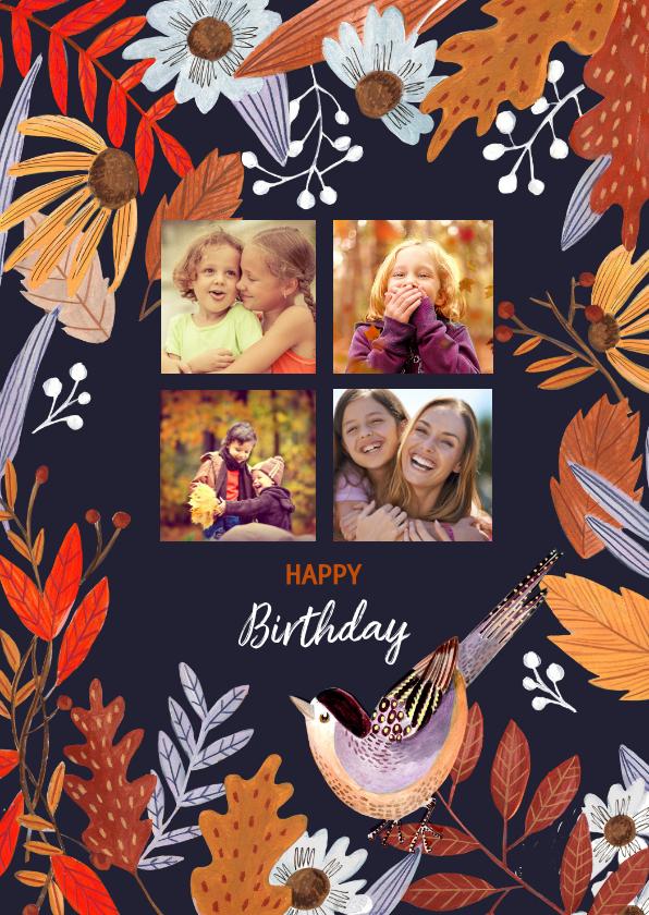 Verjaardagskaarten - Verjaardagskaart bloemen herfst bladeren