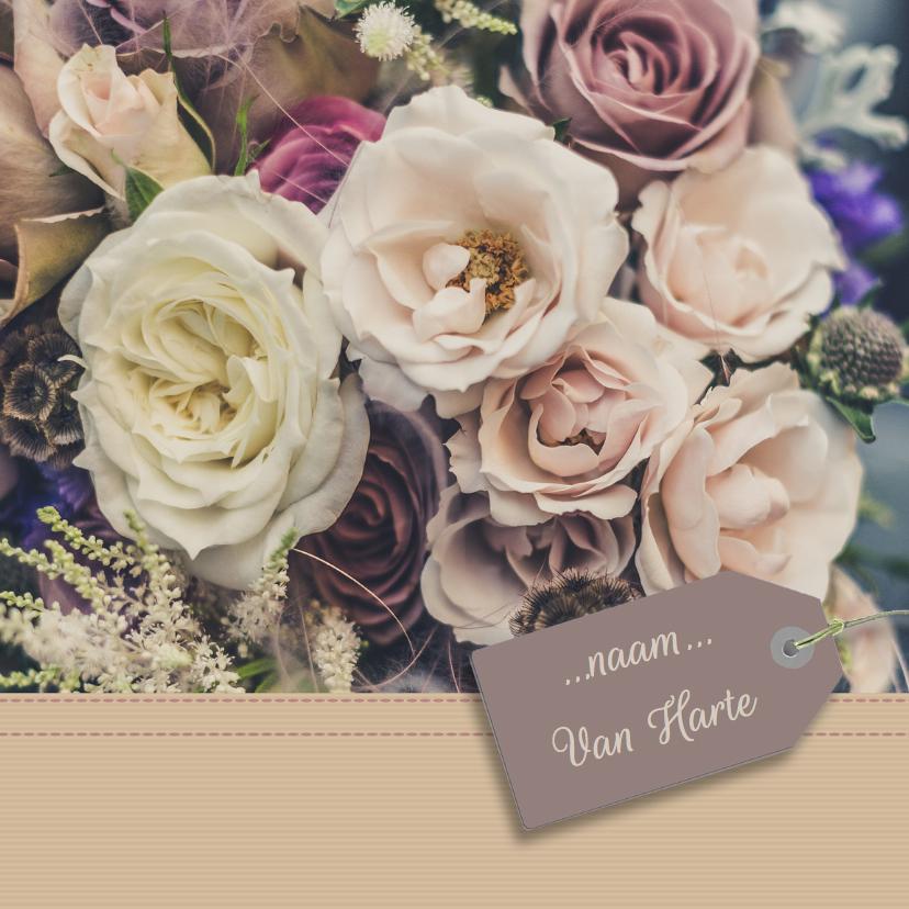 Verjaardagskaarten - Verjaardagskaart bloemen papier
