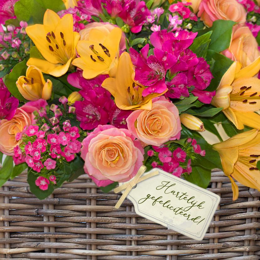 Verjaardagskaarten - Verjaardagskaart bloemenmand rozen en lelies