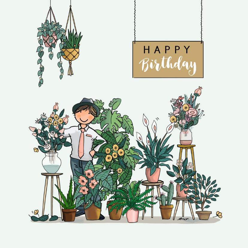 Verjaardagskaarten - Verjaardagskaart bloemenwinkel groen