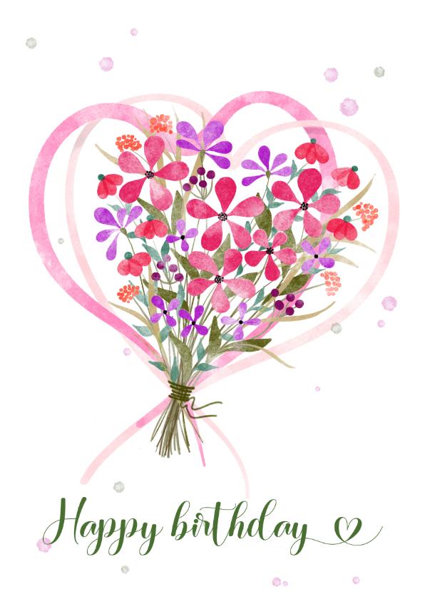 Verjaardagskaarten - Verjaardagskaart boeket bloemen met harten